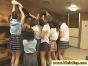Dirty Japan schoolgirls wank a hard dick