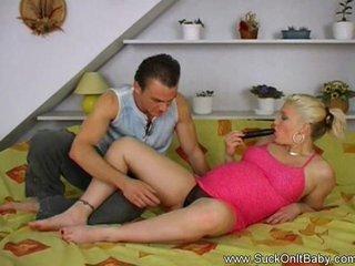 Horny pregnant blonde cock suker