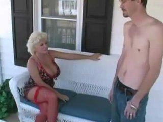 Mature Blonde Mom with Gardener
