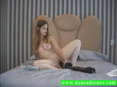 Hot Tiny Teen Using Two Huge Dildos