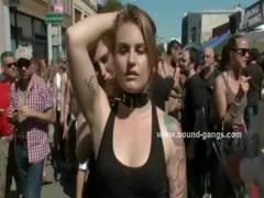 Sluts Tied Naked Outdoor In Public Group Sex Festival Learning How To Bondage In Rough Extreme Video