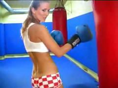 Skinny Young Blonde Boxer Place With Herself Inside The Ring