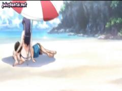 Under The Shade Of Their Beach Umbrella A Young Hentai Couple Fuck Each Other Hard