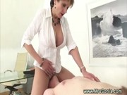 Prodomme working her slaves cock before f ...