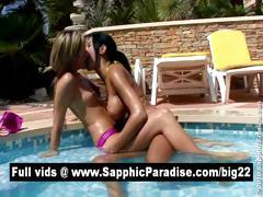 Ashley And Natali Brunette And Blonde Lesbians Having Lesbian Sex In The Pool