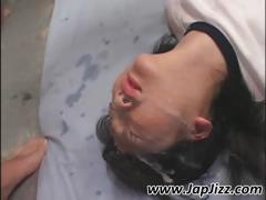 Young Asian In Pigtails Gets A Nasty Messy Facial In A Gangbang