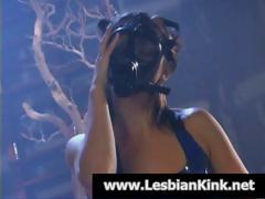 Lesbian In A Gas Mask And Latex Plays With Her Pussy And Gets Licked