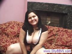 Chubby Brunette Chick With A Pair Of Big Boobs Sucks Her Beau's Cock And Gets Fucked