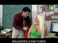 Bigtit blonde college slut fucks harddick in classroom at schoo