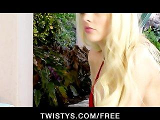 Sexy slutty blonde shows off her new bikini then masturbates