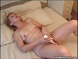 Blonde granny Eva fucks herself with a vibrator