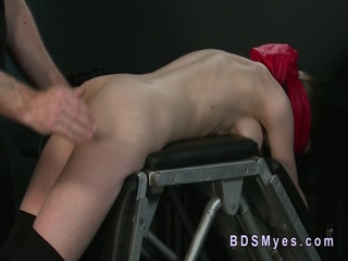 Tied up busty sub gags big cock