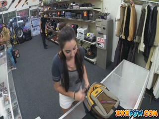 Sexy college girl flashes her tits in public in a pawn shop