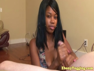 POV tugging ebony teen with facepiercings