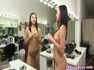 Real small titted asian in solo