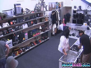 Cute latina teen fucked in pawn shop and jizzed all over her face