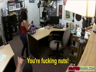 Cuban and Busty babe gets pawned inside her pussy in the pawn shop office