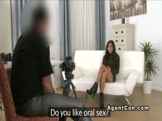 Hairy amateur fucks fake agent