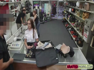 Latina Stewardess woman gets fucked in the pawnshop office