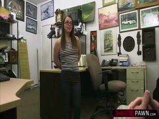 Petite and horny college chick trades sex from Shawn in his office 2