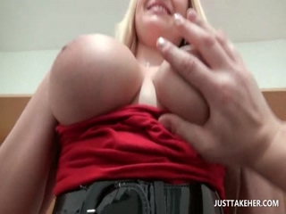 Chesty blonde eats and tit fucks horny dick