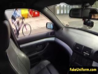 Real euro sucks cops cock in his car