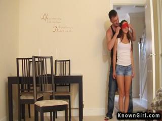 Blindfolded girlfriend fucking homemade