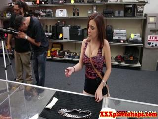 Latina teen at pawnshop showing bigtits