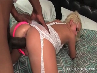 Sweet blonde fucked doggy style by black dick