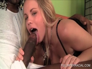 Little blonde sucks the biggest black dick ever