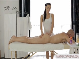 Cute masseuse pounded by her bald client