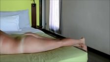 Cumshot on German curvy amateur ass