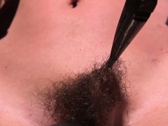 Hairy Babe Pussy Vibed In Device