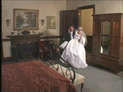 Bride in satin wedding dress gets a hard rough DP