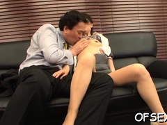 Gorgeous Young Chick Seduces An Older Boy In The Office