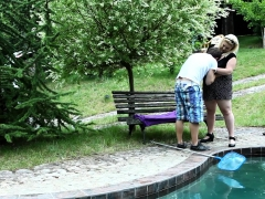 Chubby Domina Smushes Poolboy With Her Tits