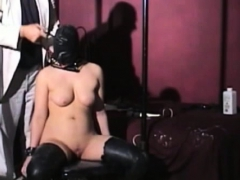 Older Floozy Gets Teased Whilst Being Tied To Armchair
