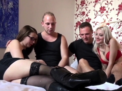 German Brunette With Glasses And Cute Blonde Slut Groupsex