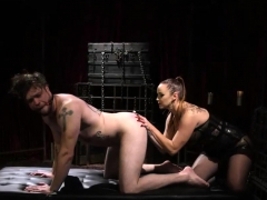 Meaty Domina Pegs A Slave