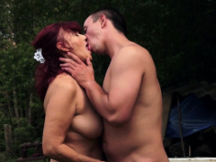 Redhead Amateur Granny Pounded Outdoors