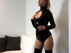 Cute Girlfriend Fucked In Latex Catsuit