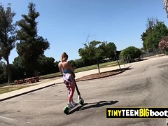 Tiny Teen On Electric Kick Scooter Rides Step And Huge Cock