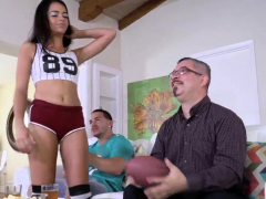 Jerking Step Daddy And Pal' Patron's Daughter Threesome
