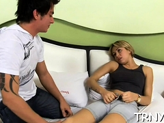 Overwhelming Tranny Rides Love Stick Well