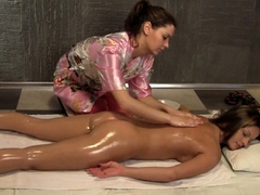 Oiled Pussy Massage For A Hot Brunette