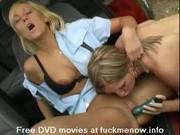 Lesbian blonde in the car
