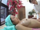Asian Girl Massaged Getting Her Tits And Pussy Rubbed Nipples Sucked By 2 Masseuses On The Massage Bed