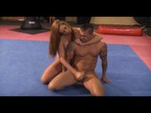 Very sexy mixed wrestling finished with a handjob