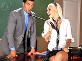 Young sexy blonde teen fucks her teacher s dick in school uniform