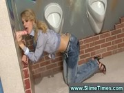 Classy blonde blasted with fake cum in re ...